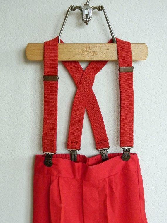 vintage red LEVIS suspenders and pants