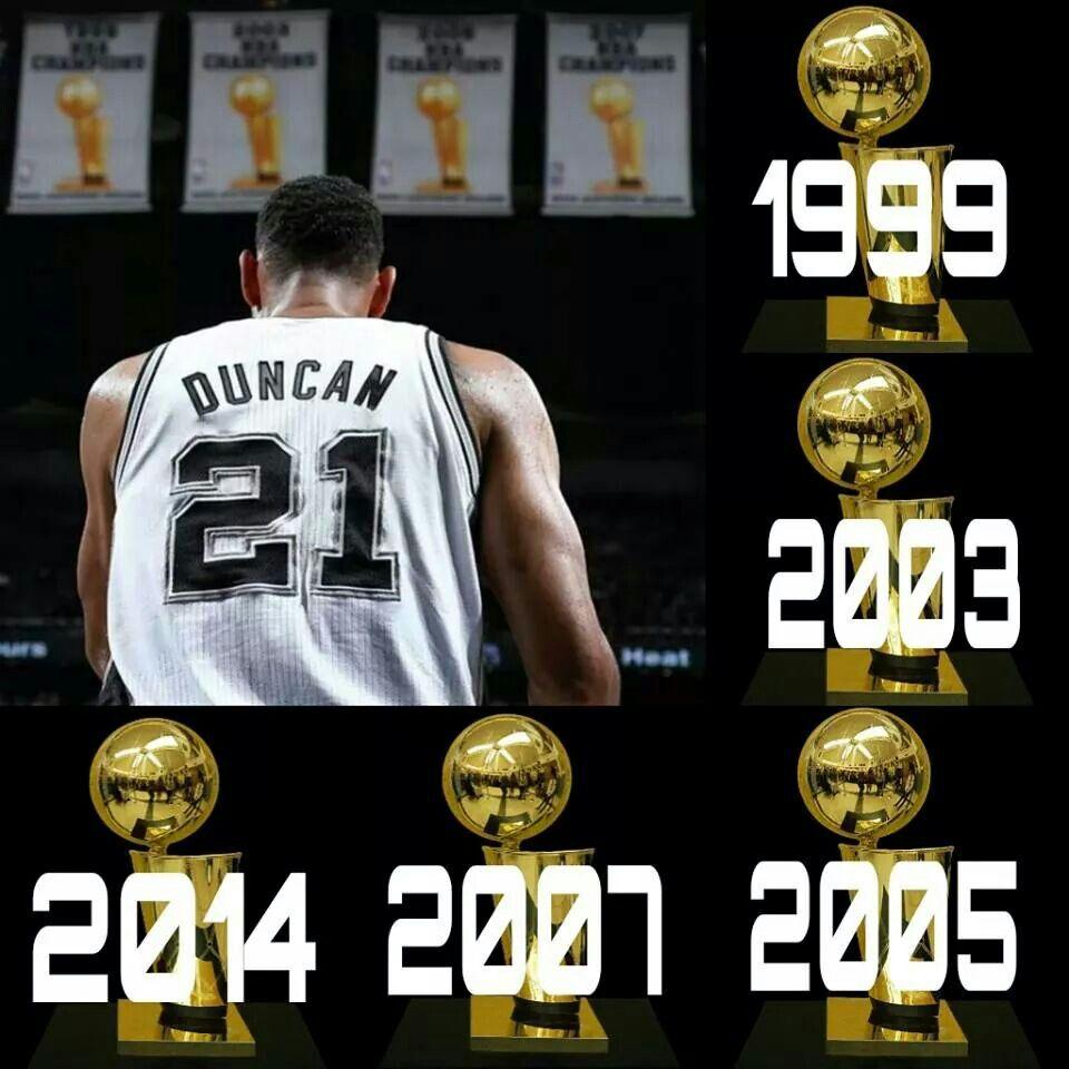 SPURS TIM DUNCAN 5-TIME NBA CHAMPION