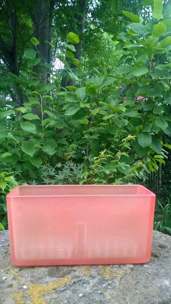 1930s Pink Glass Rectangular Trough Vase Two Fog By Artdecoglass
