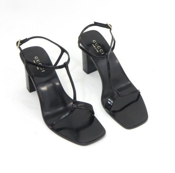 4b502a59b567 Vintage 90 s Gucci High Heel Sandals in Black Patent Leather ...