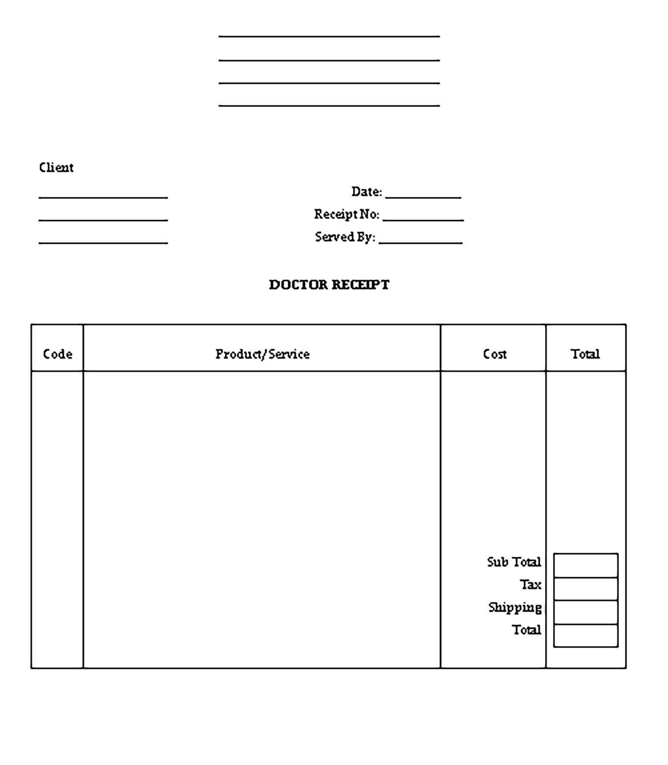 Printable Doctor Receipt Template In