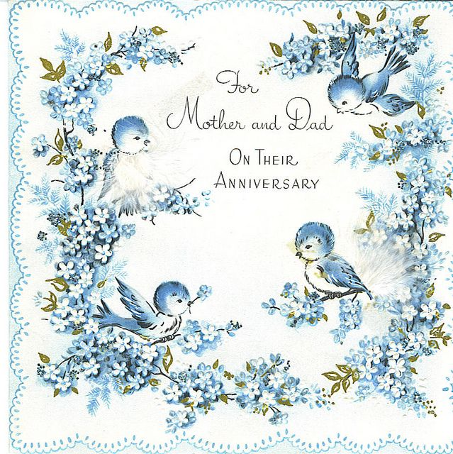 For Mom Dad Anniversary Card Vintage Greeting Cards Vintage Cards Old Greeting Cards