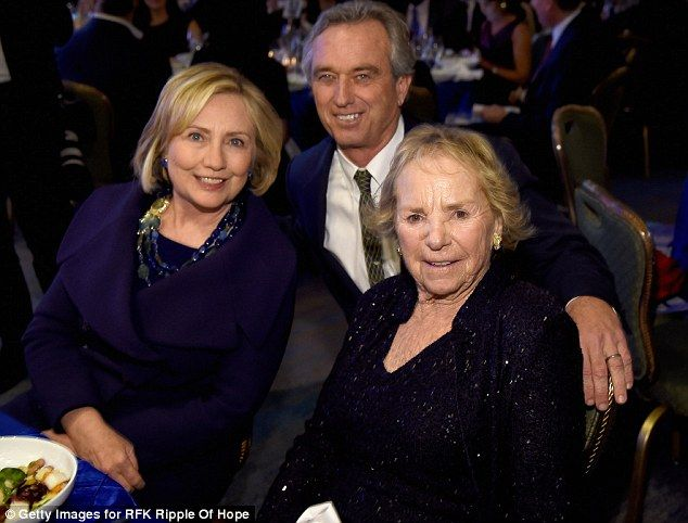 Political pals: RFK Jr. hobnobs with potential 2016 Presidential candidate, Hillary Clinton, left and his mother Ethel Kennedy at the RFK Ripple of Hope gala on December 16, 2014. Robert Kennedy Jr., Ethel Kennedy, Christopher George, Cheryl Hines, Chelsea Clinton, Ernest Hemingway