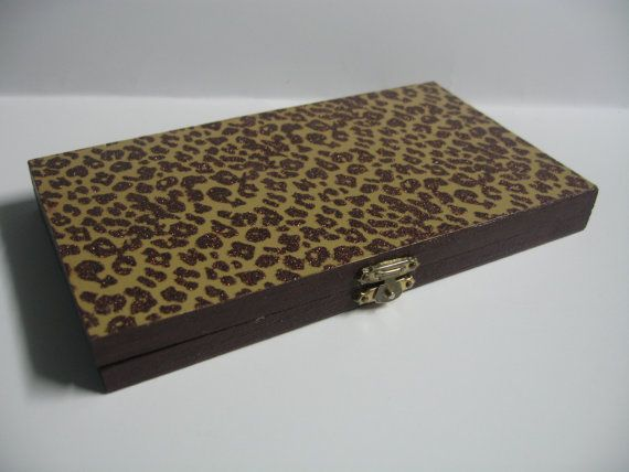 Dark Brown and Tan Leopard Print with Glitter Sparkles Magnetic Freedom Makeup Palette to hold eye shadow, blush, powder and lip pans!