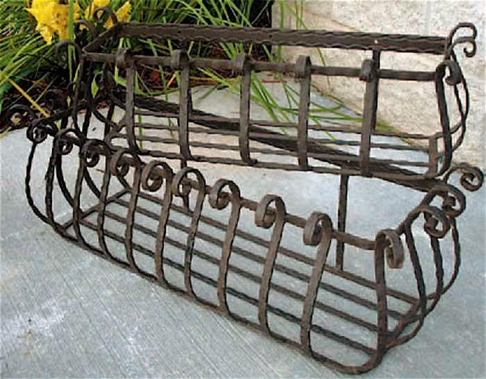 Set of 2 Wrought Iron Large Castilian Window Planters 36