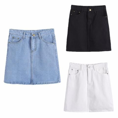 a541263644af High Quality Jean A-Line Summer Short Mini Denim Skirt for Women Lady Girls  2018 New Fashion Hot 3 Colors
