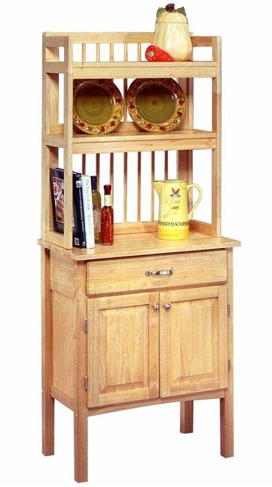 This Simple And Practical All Wood Baker S Rack Features Ample Storage Behind Closed Doors A Generous Work Surface Two Shelves For