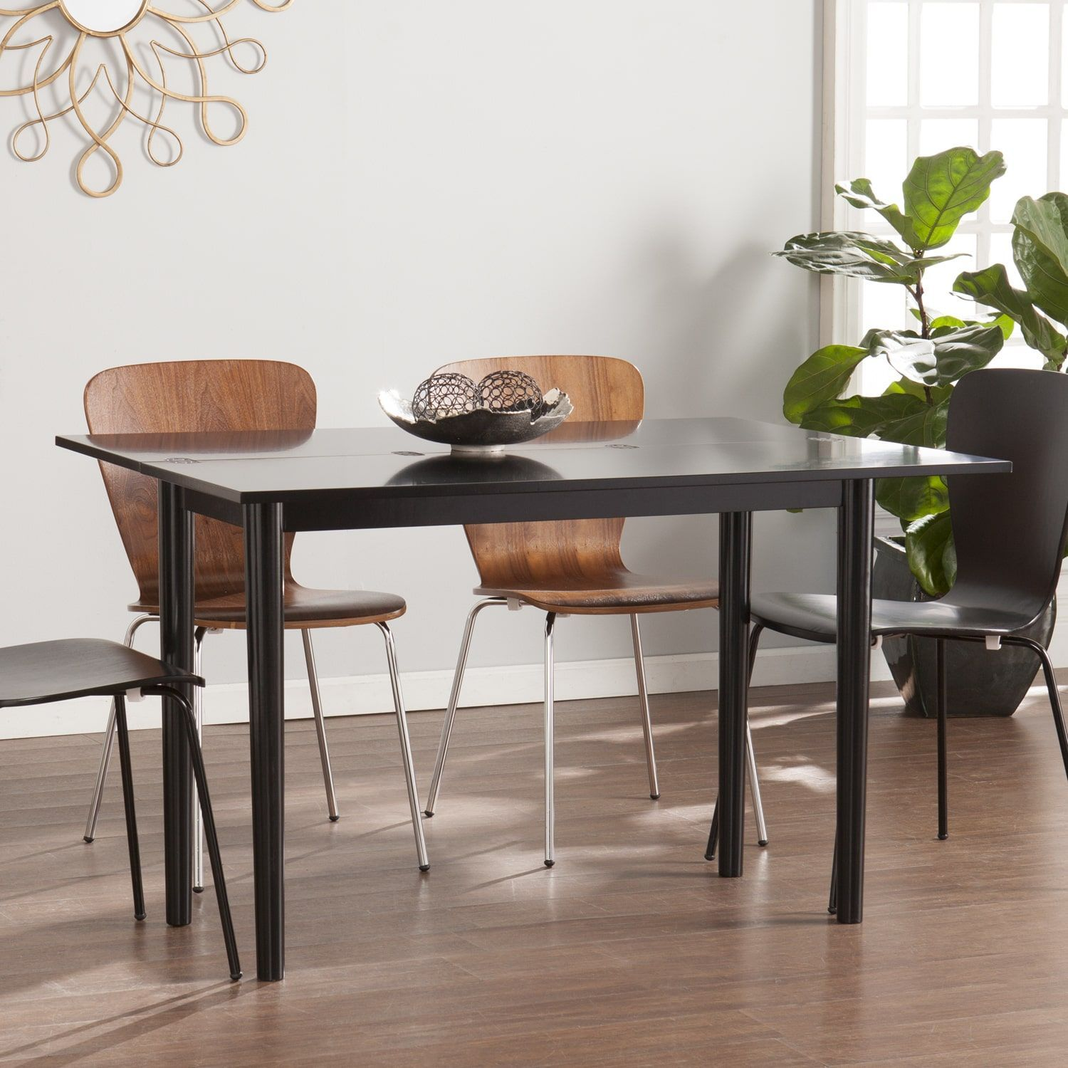 Harper blvd convertible console to dining table w 2pc black 2pc harper blvd convertible console to dining table w 2pc 2pc walnut chairs geotapseo Images