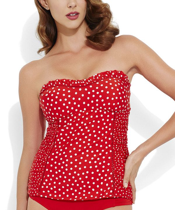 317808af65 Love this Red   White Polka Dot Strapless Tankini Top by Jantzen on  zulily!   zulilyfinds