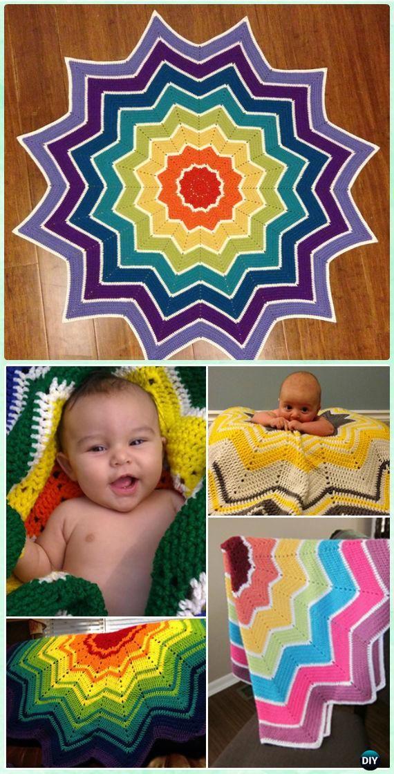 Crochet Rainbow Ripple Baby Blanket Free Pattern - Crochet Rainbow ...