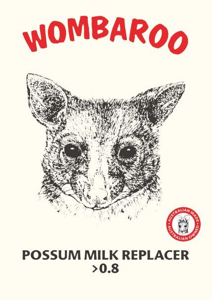 Possum Milk Replacer >0.8 $152 for 5kg, Min Crude Protein	30% Min Crude Fat	35% Max Fibre	0% Max Salt	1.1%