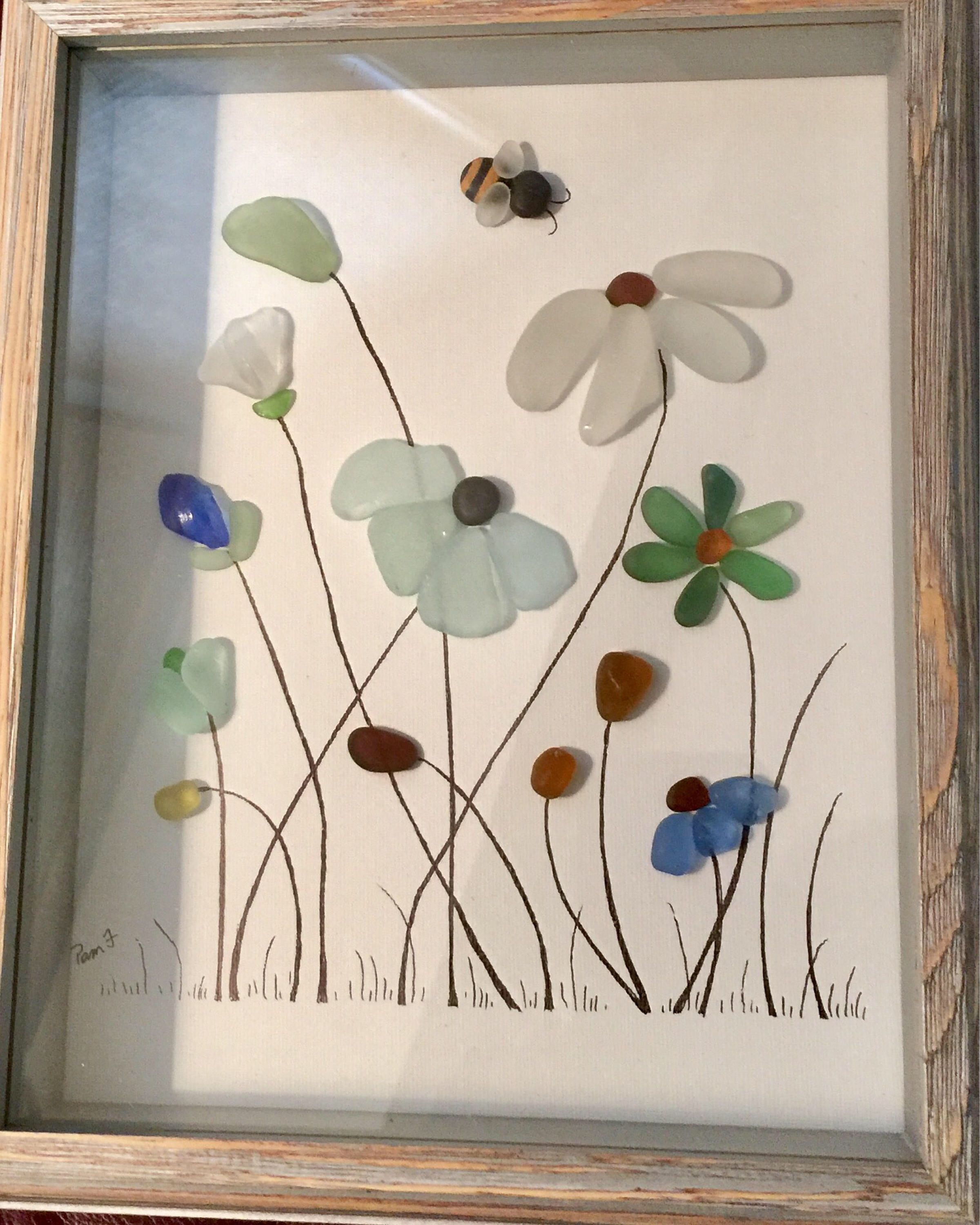 Photo of Genuine Sea Glass Framed Artwork Flowers Picture Bumble Bee