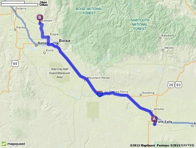 Driving Directions From Twin Falls Idaho To Emmett Idaho