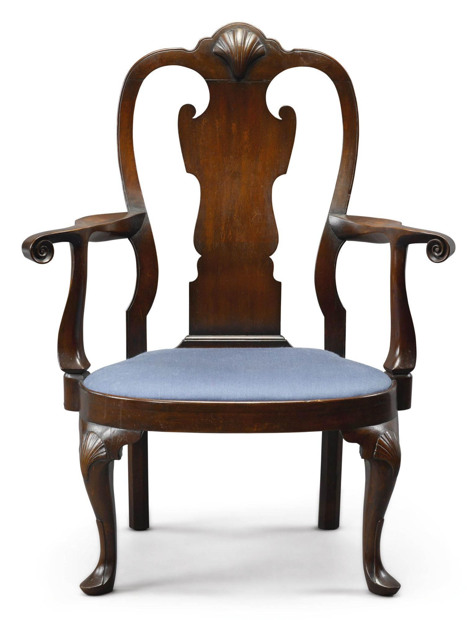 Very Rare Queen Anne Carved Walnut Comp Seat Armchair Philadelphia Circa 1750 Inscribed Perot Proper Right Rear Leg Replaced Height 41 1 2 In