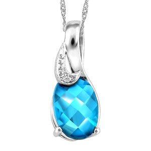 10KT White gold blue topaz pendant, chain included. PEN-GEM-1911