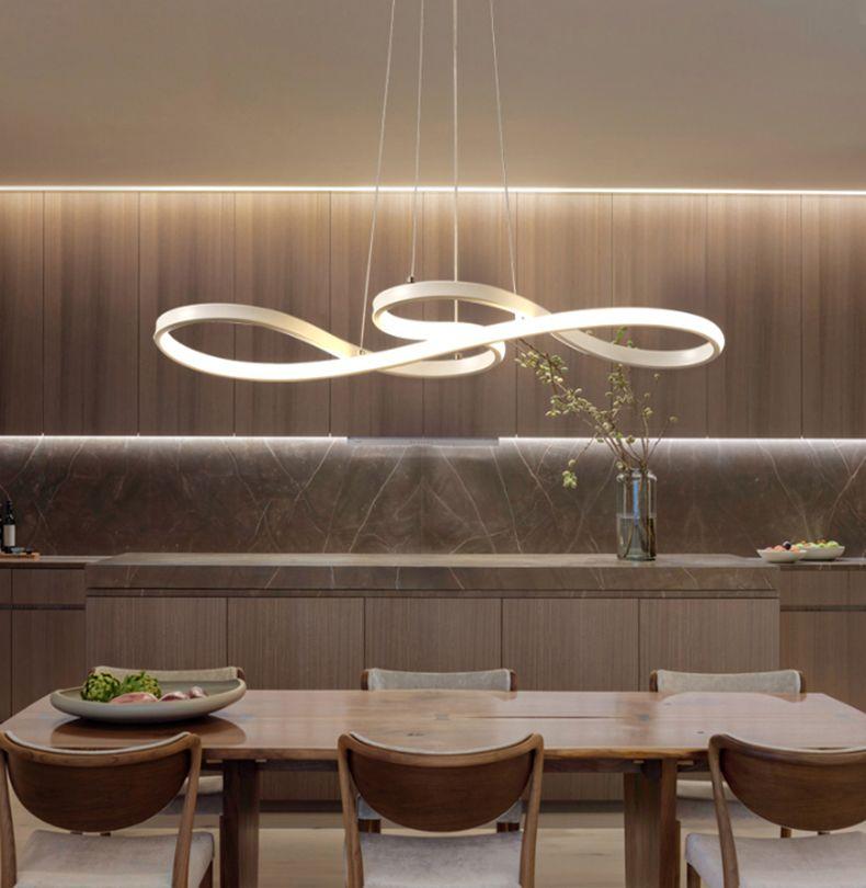 Length 1250 750mm Modern Led Hanging Chandelier For Dining Kitchen