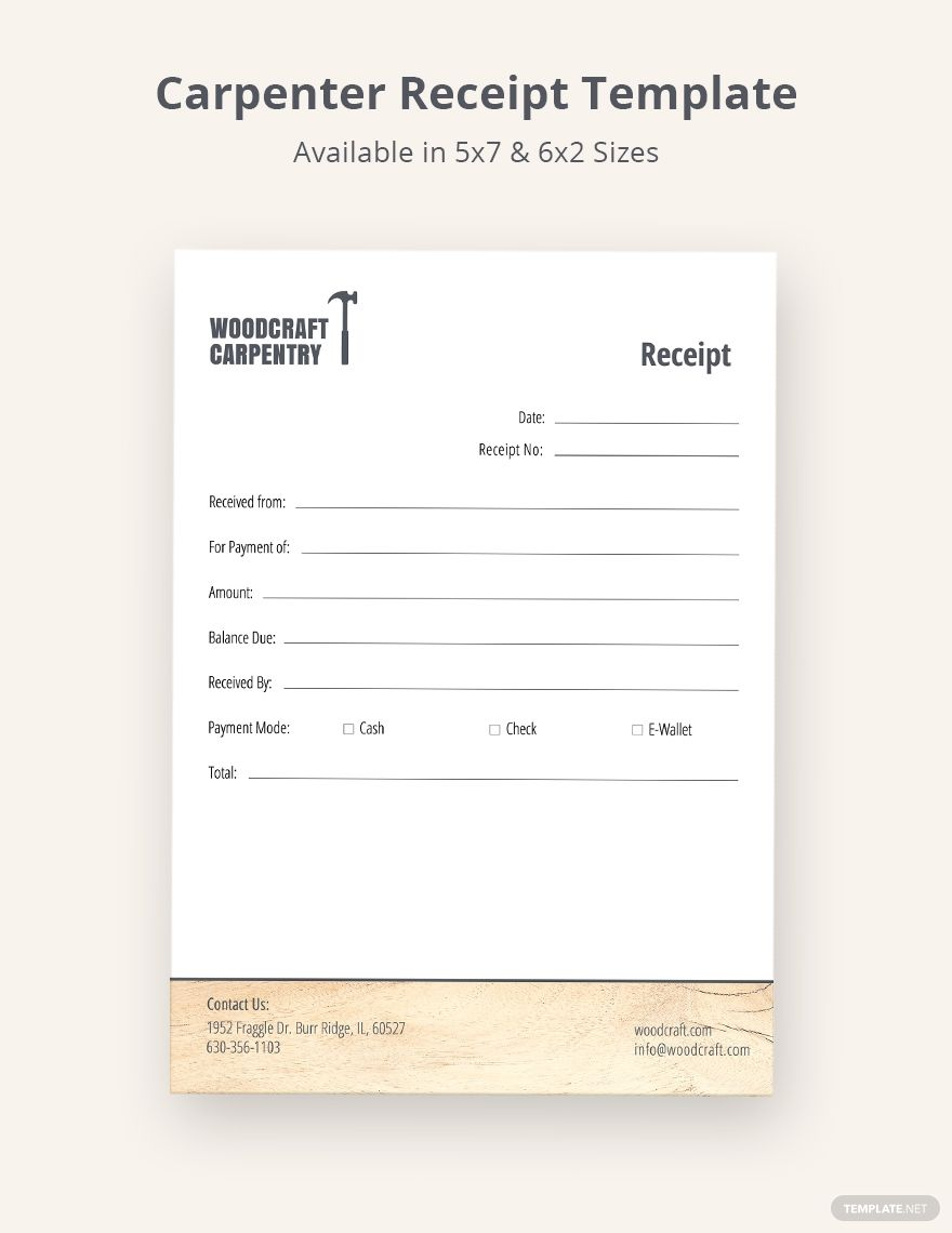 Carpenter Receipt Template Word Psd Indesign Apple Pages Illustrator Publisher Receipt Template Financial Logo Microsoft Publisher