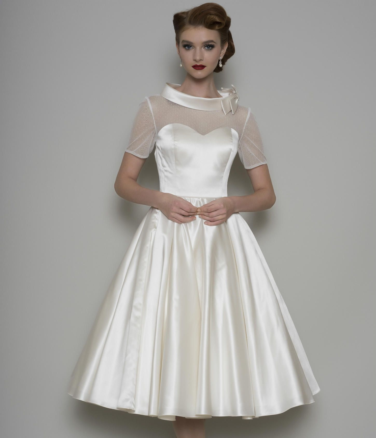 Lb hattie vintage inspired tea length satin dress with spotted