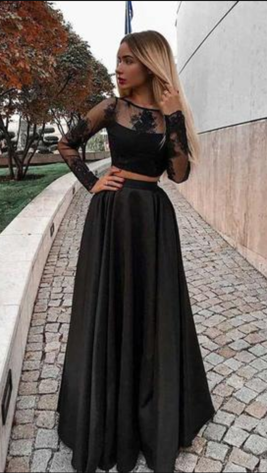 2c31db9eda9 Two Piece Prom Dress With Long Sleeves, Floor Length Evening Dress ...