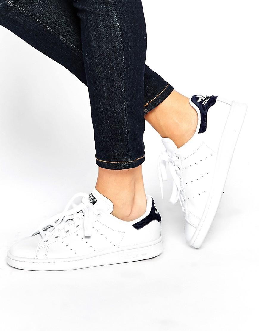 Adidas   adidas Originals White and Indigo Stan Smith Sneakers at ASOS