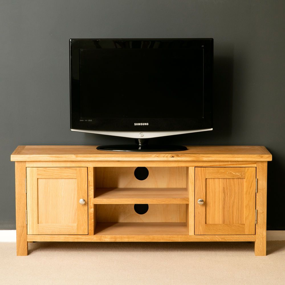 London Oak Tv Stand Brand New Plasma Cabinet Solid Wood Large Unit Ebay