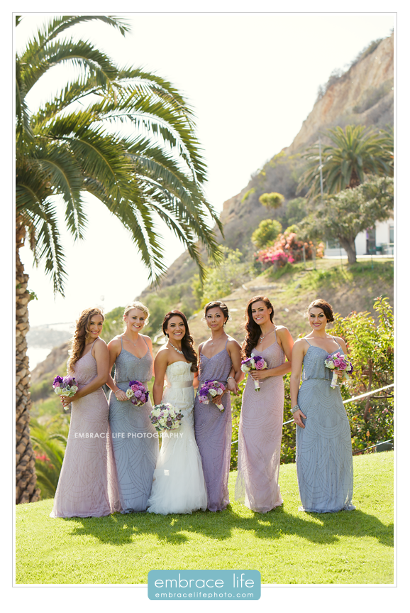 Cute Bridal Party Photos - Pacific Palisades Wedding Photographer, Los Angeles Wedding Photography, Long bridesmaid Gowns