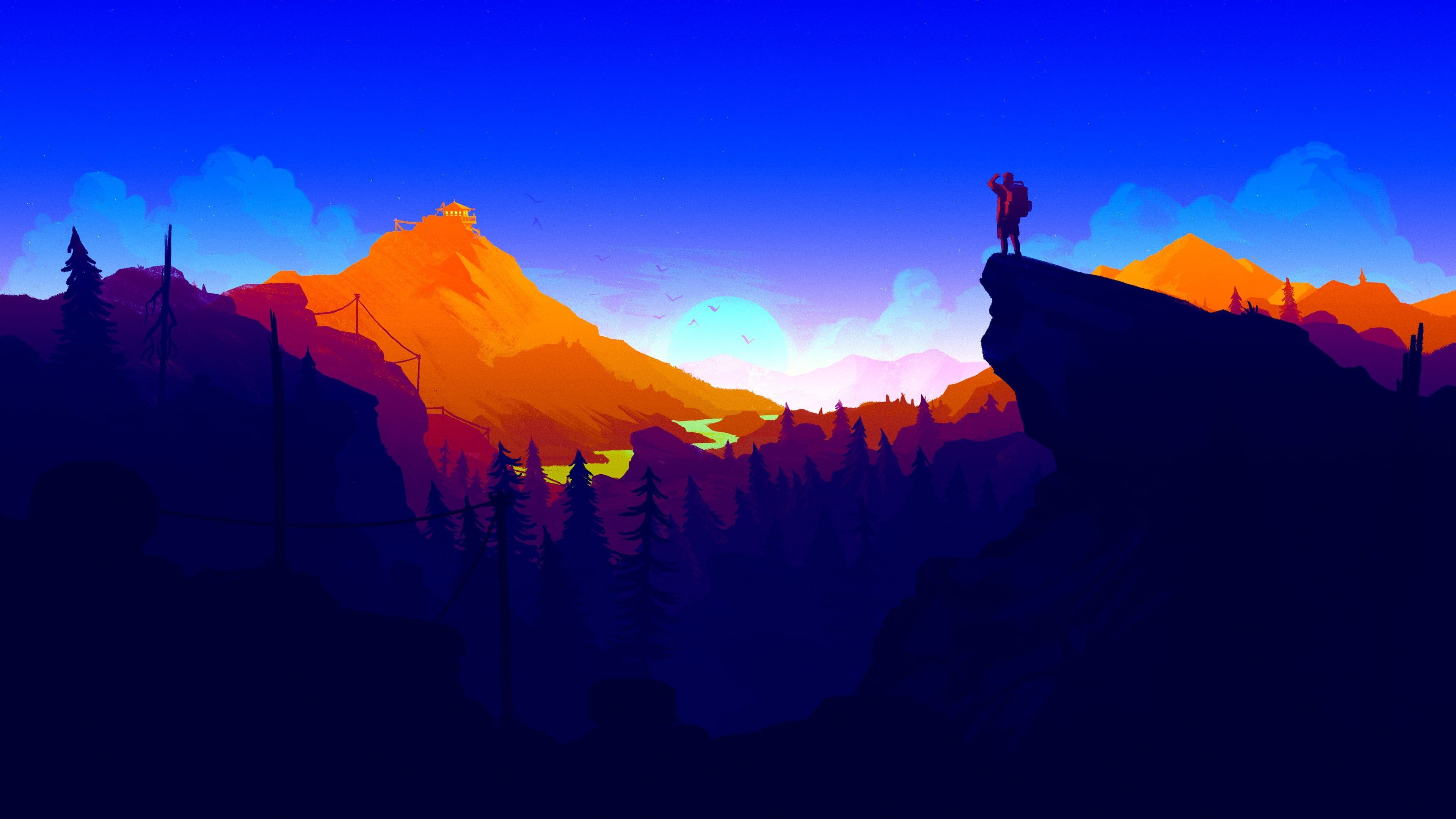 Man On Top Of Cliff Illustration Landscape Painting Firewatch Minimalism Sunset Landscape Mou In 2020 Background Images Wallpapers Background Images Wallpaper Pc