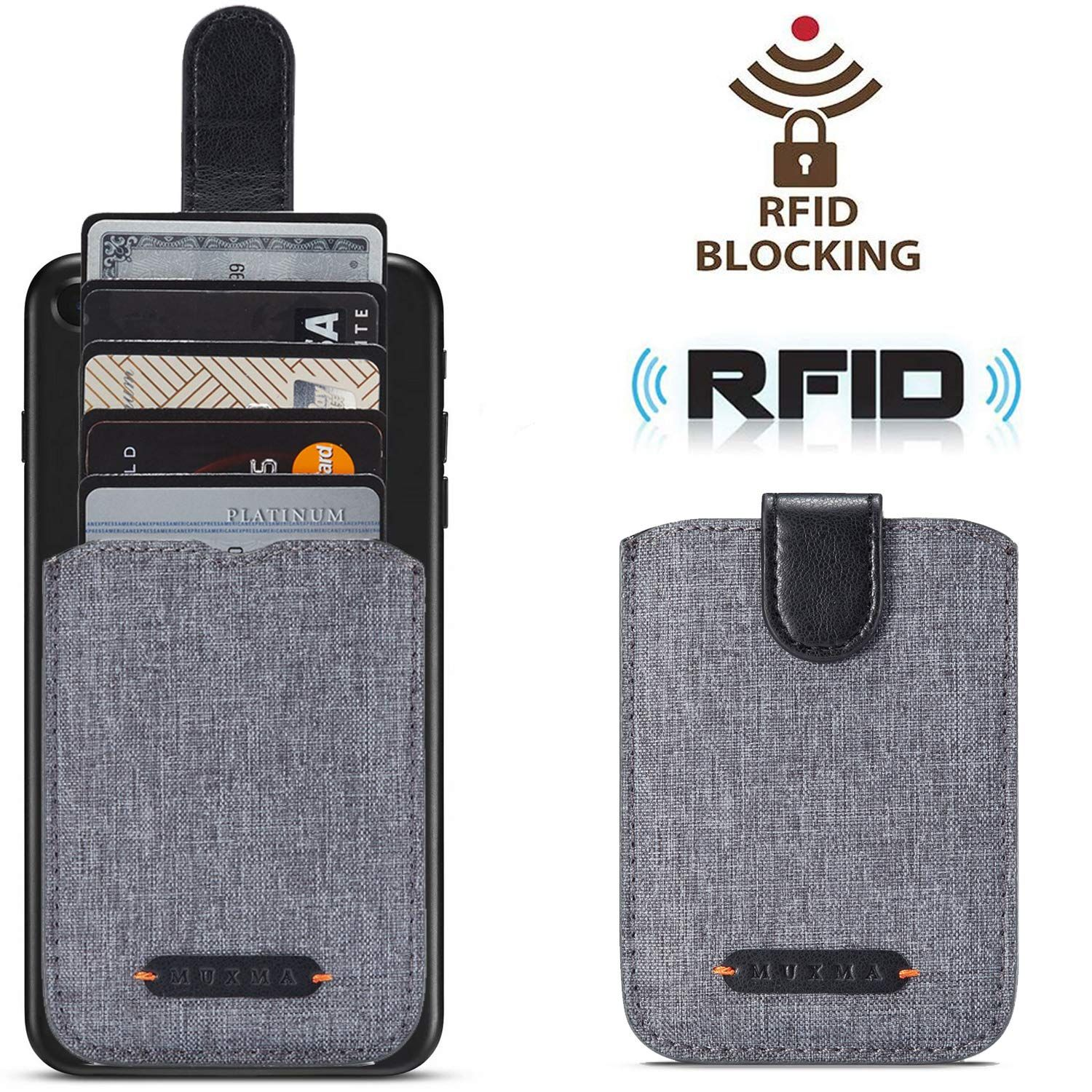 Card holder for back of phone rfid blocking 5 pull credit