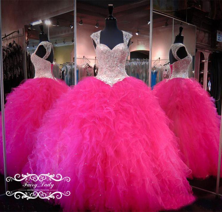 a8c0b2956737a Hot Pink Quinceanera Dresses 2018 Beads Crystal Vestidos De 15 Anos ...