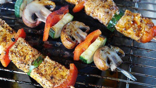 肉, 蔬菜, Gemuesepiess, 蘑菇, 肉扦, 烧烤, 夏季