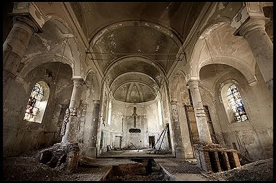 Church SV (Belgium) Dilapidated church with a history dating back to the 13th century. At a certain point, archeological excavations started in this religious bastion, but these were never completed and the building was left to rot.