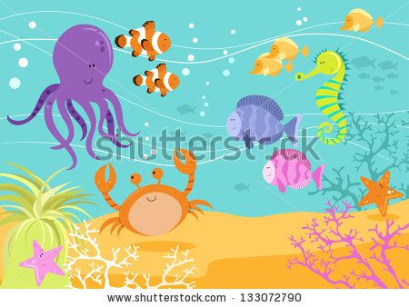 stock-vector-sea-creatures-underwater-scene-with-octopus-tropical-fish-crab-and-coral-133072790.jpg (450×338)