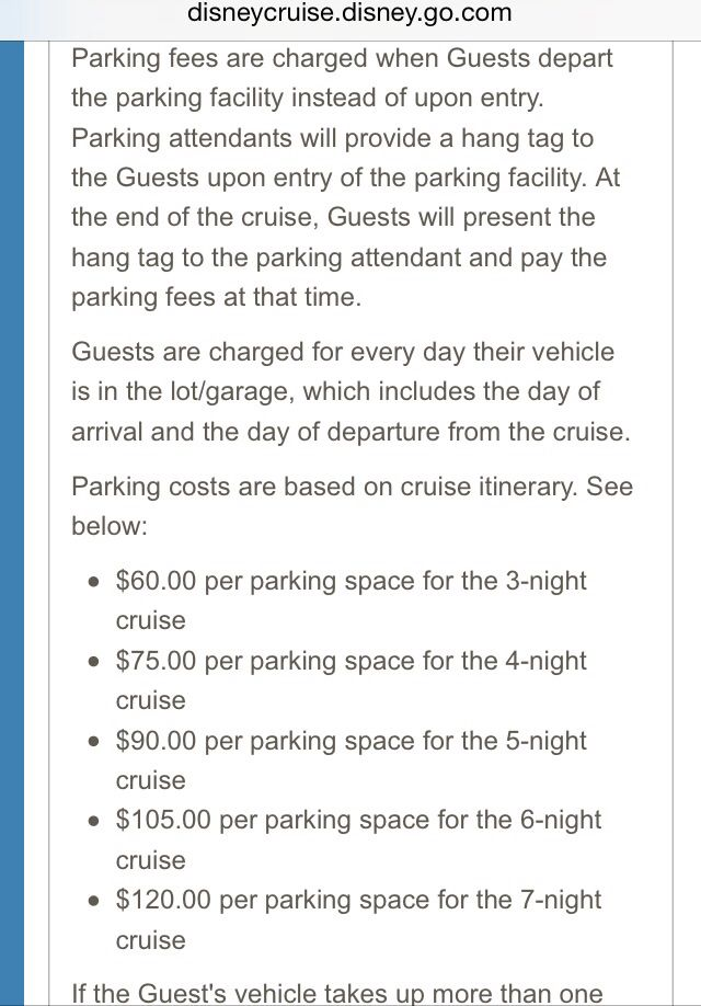 Disney port canaveral parking rates http://disneycruise.disney.go.com/cruises-destinations/bahamas/ports/port-canaveral-florida/departure-port-information/