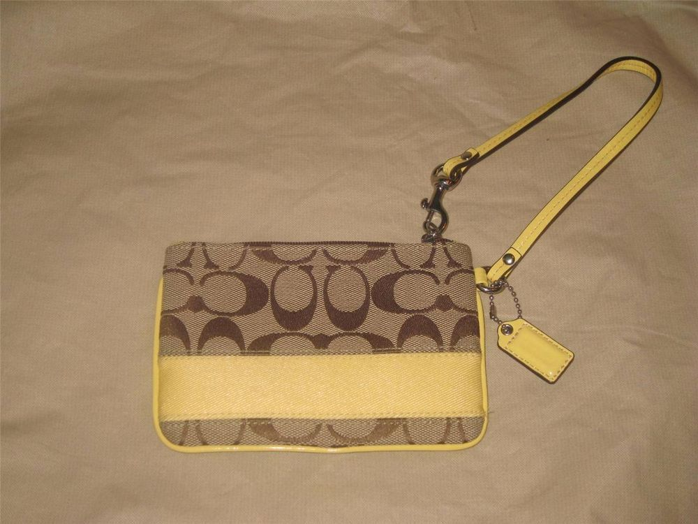 Coach Signature Stripe Wristlet Khaki Yellow #Coach #TotesShoppers