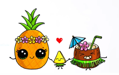 Pinapple coconut art drawings dessin kawaii dessins - Ananas dessin ...
