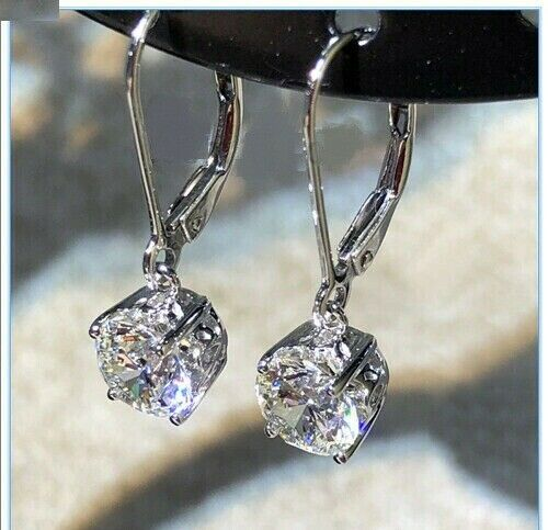 3.00 Ct Drop//Dangle Moissanite Earring 14k White Gold Excellent Round Cut
