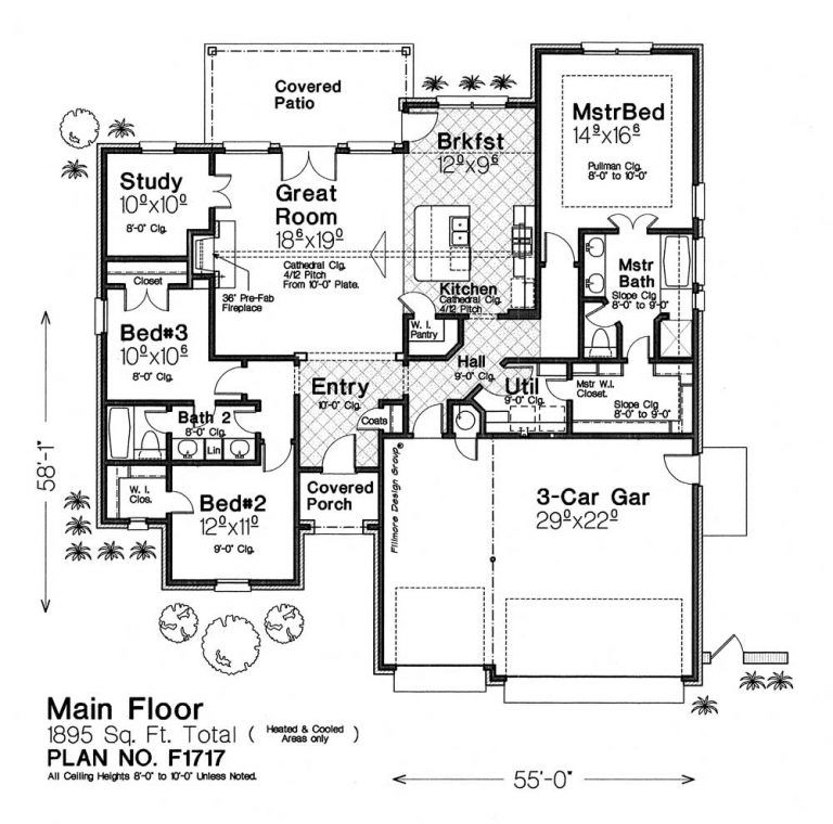 F1717 Fillmore Chambers Design Group Single Level House Plans House Plans Floor Plans