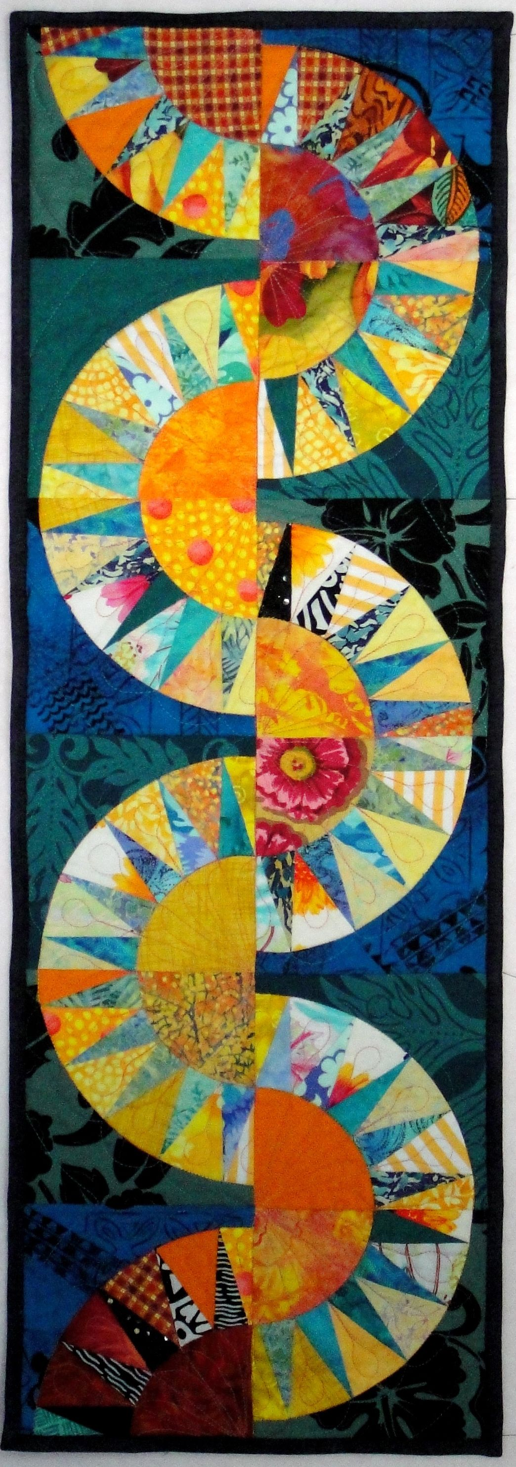 """Keep on the Sunny Side"" Table Runner - Uses Linda Hahn's New York Beauty pattern (book required) and foundation piecing."