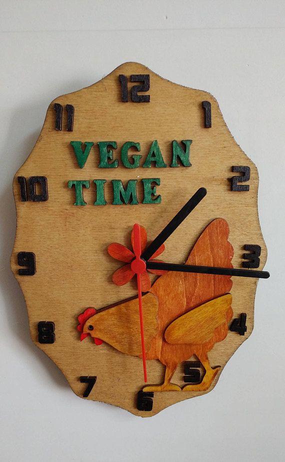Vegan Clock Wall Decor Vegan Time Clock Wall Hanging Vegan   Febuary ...