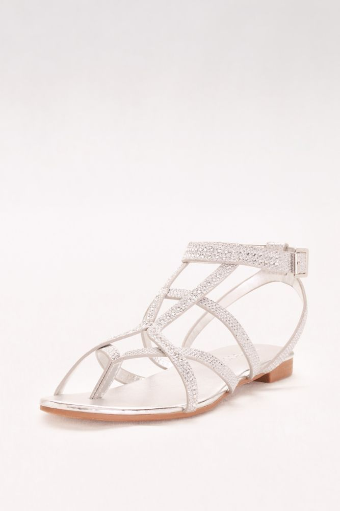 f110ecd60 Gem-Embellished Strappy Flat Sandals - Silver Metallic