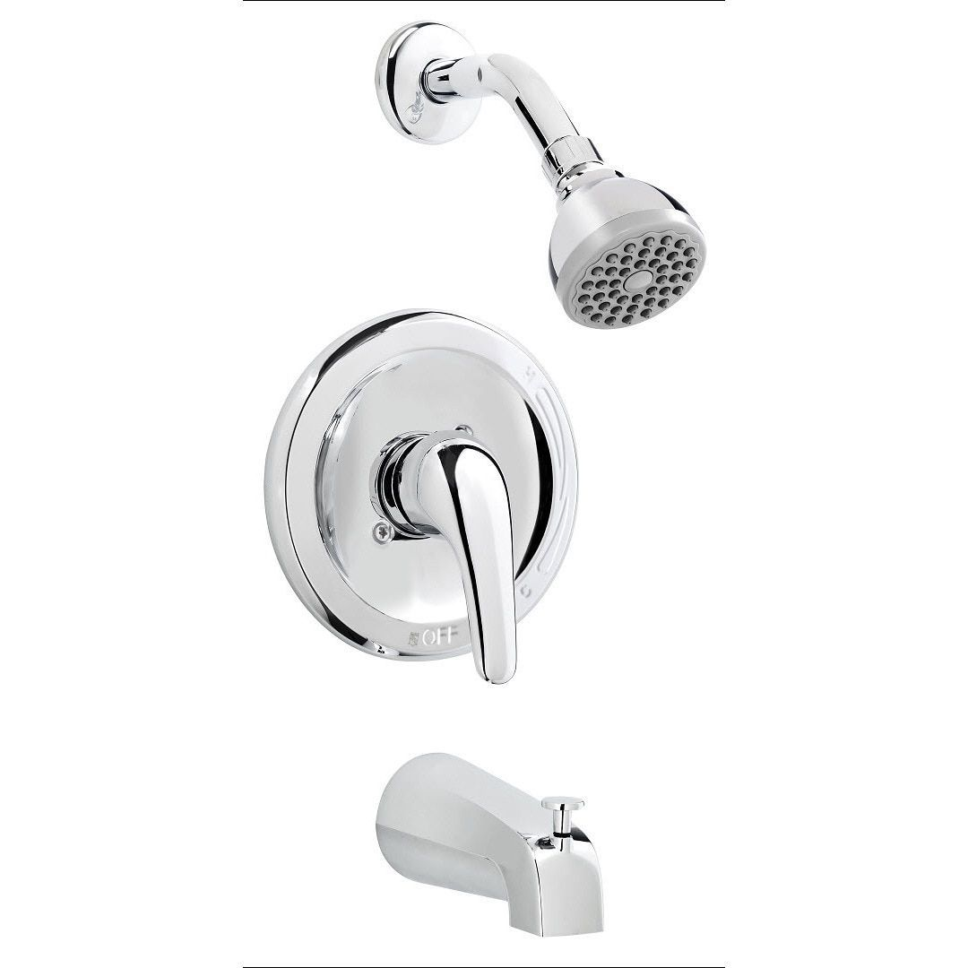 Polished Chrome Brass Bathtub Shower Faucet Combo Polished Chrome