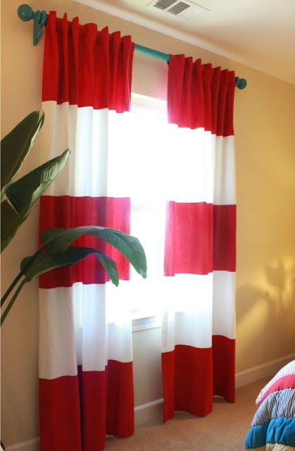 Red And White Striped Curtains With Borders Ideas For The House