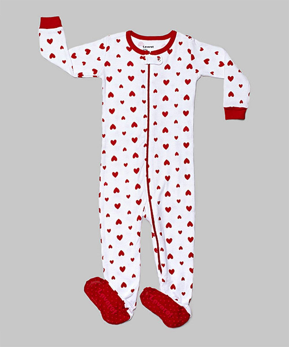 Look at this Red & White Heart Footie - Infant, Toddler & Girls on #zulily today!