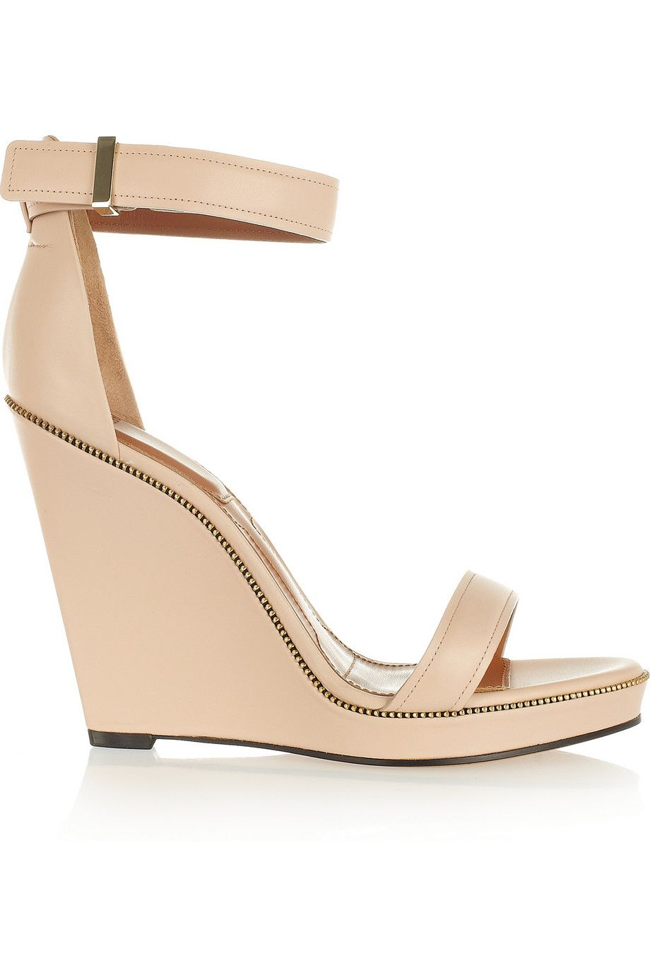 Givenchy Zip-detailed leather wedge sandals NET-A-PORTER.COM