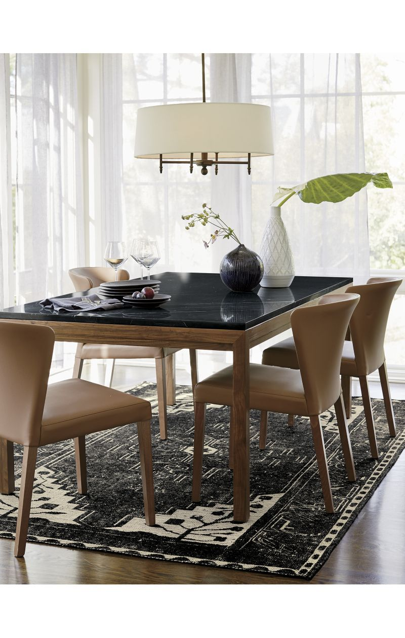 Parsons Black Marble Top Elm Base 48x28 Dining Table