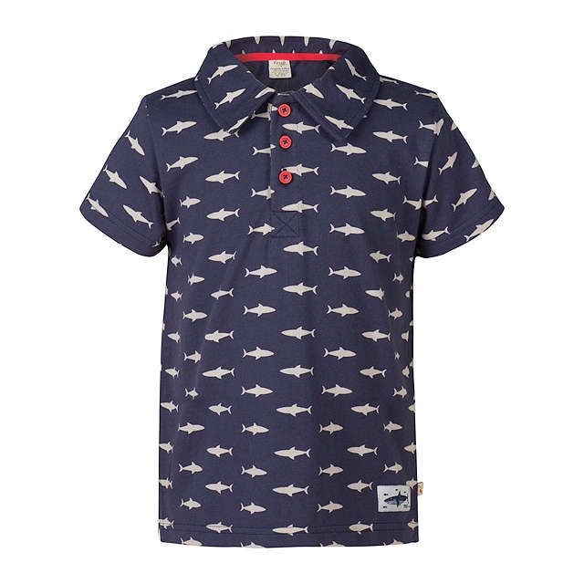 efe077a09 BuyFrugi Organic Boys' Penwith Shark Print Polo Shirt, Navy, 2-3 years  Online at johnlewis.com