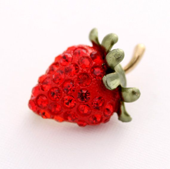 Strawberry Brooch Crystal Red Strawberry Broach by PinkFoxFindings