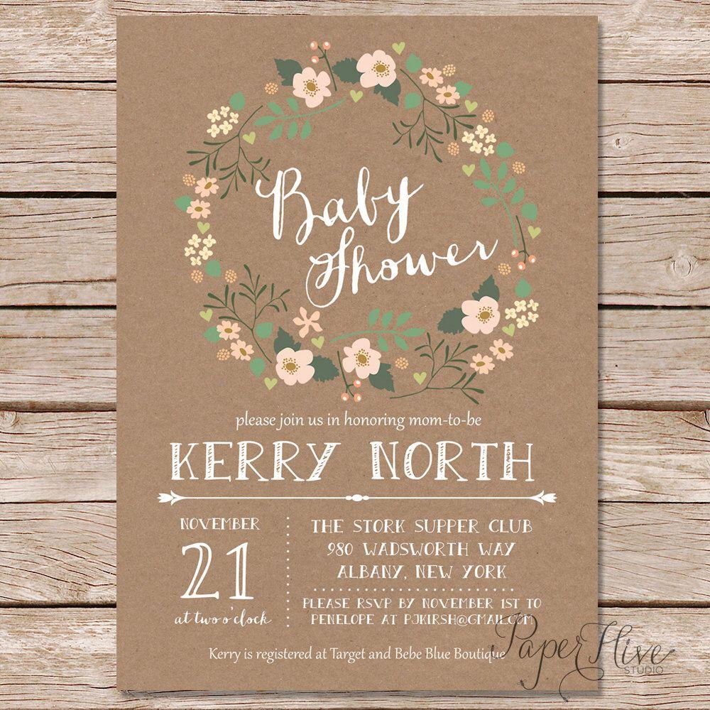 rustic baby shower invitation / shabby chic baby shower invitation ...