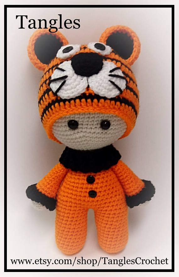 Tiger * Big Head Baby Doll * Made To Order | crochet | Pinterest ...