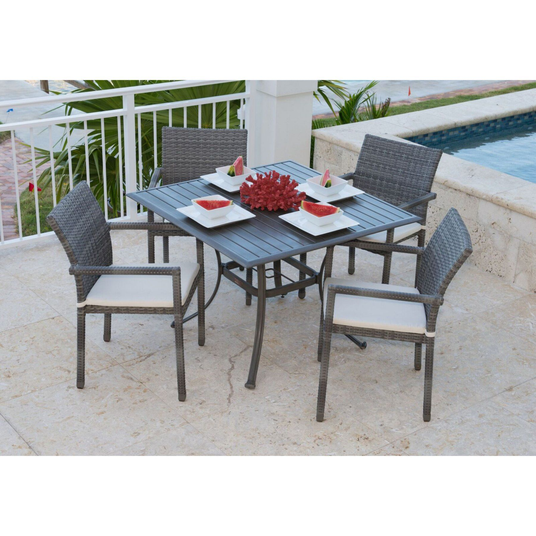 Patio Furniture Near Newport Beach: Outdoor Panama Jack Newport Beach 5 Piece Wicker Patio